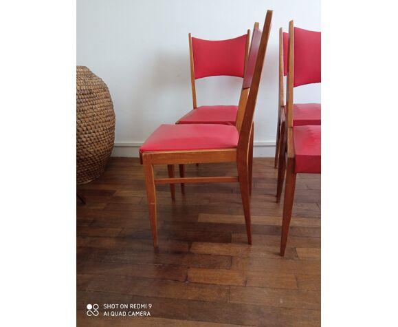 4 chaises années 50 en bois et skaï