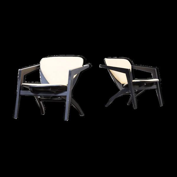 Selency Suite de 2 fauteuils GE460 par Hans Wegner pour Getama
