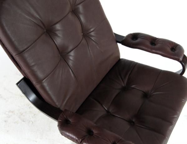 Fauteuil de salon pivotant vintage en cuir de palissandre danois vintage des années 1970