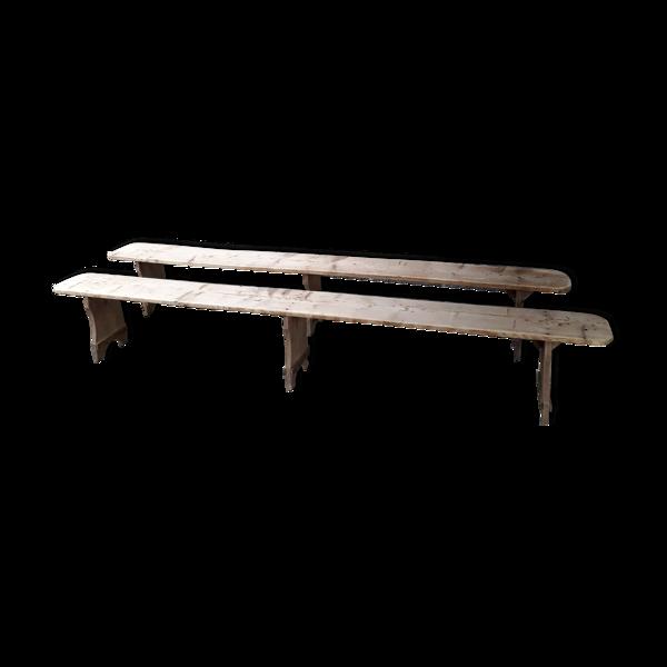 Selency Paire de bancs rustiques 265 cm