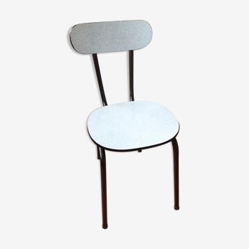 Chaise en formica bleu clair et pietement noir / vintage années 50-60