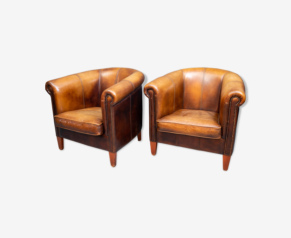 Ensemble de 2 fauteuils club en cuir de mouton