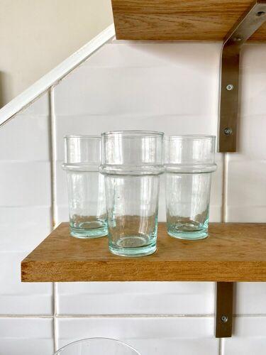 3 verres en verre soufflé