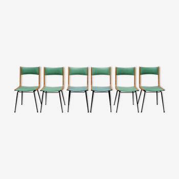 6 Chaises Italiennes bois skaï 50