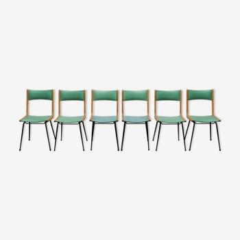 6 Italian chairs skai wood 50