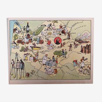 Affiche ancienne carte illustrée de la Gironde Dordogne Lot Aveyron - JP Pinchon