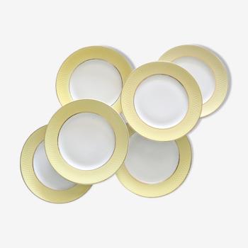 Ensemble de 6 assiettes plates jaune avec damier en relief, manufacture française, vintage