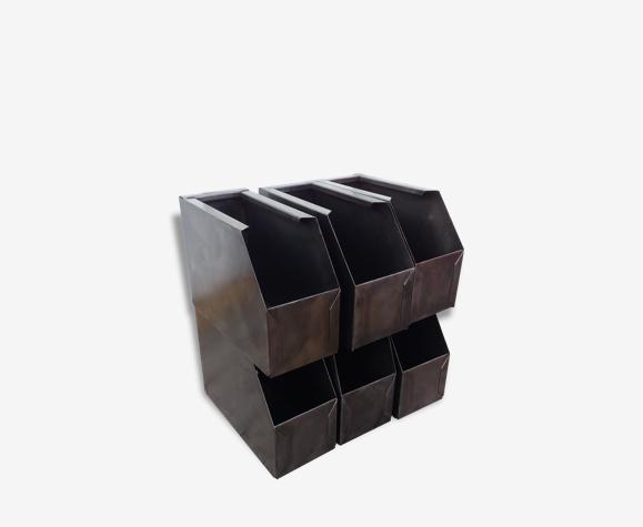 Petit Bac Metal Caisse Industriel Boite De Rangement Selency