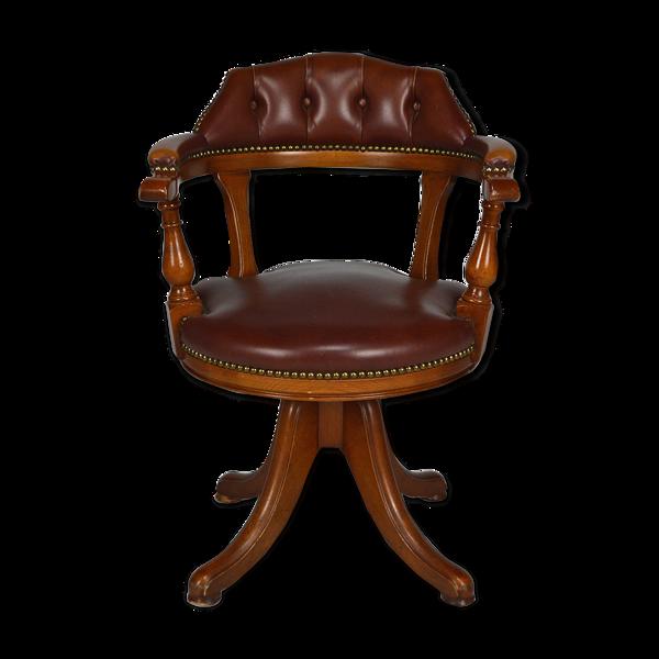 Fauteuil de bureau pivotant bois et cuir