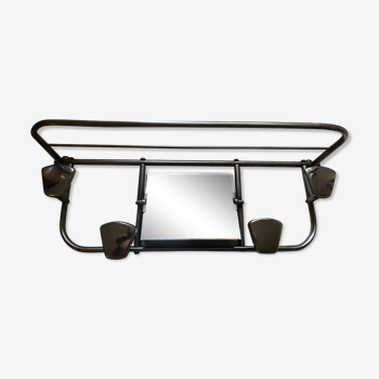 Wall coat rack with vintage mirror 50s