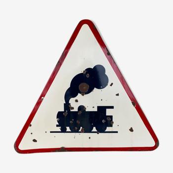 Panneau de signalisation train à vapeur  1964