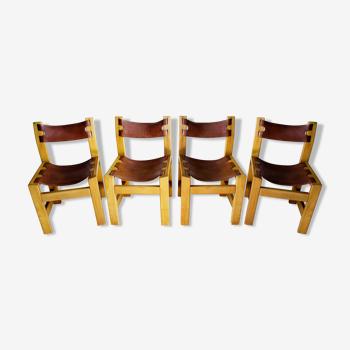 Série de chaises orme et cuir fauve brutaliste année 70