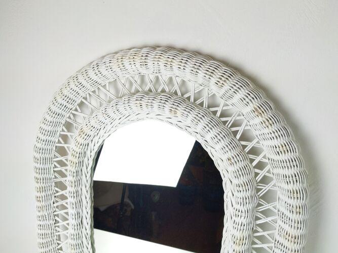 Miroir en osier blanc encadré années 1970 57x72cm