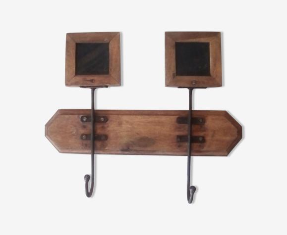 Porte-manteau années 50 ardoise bois et acier