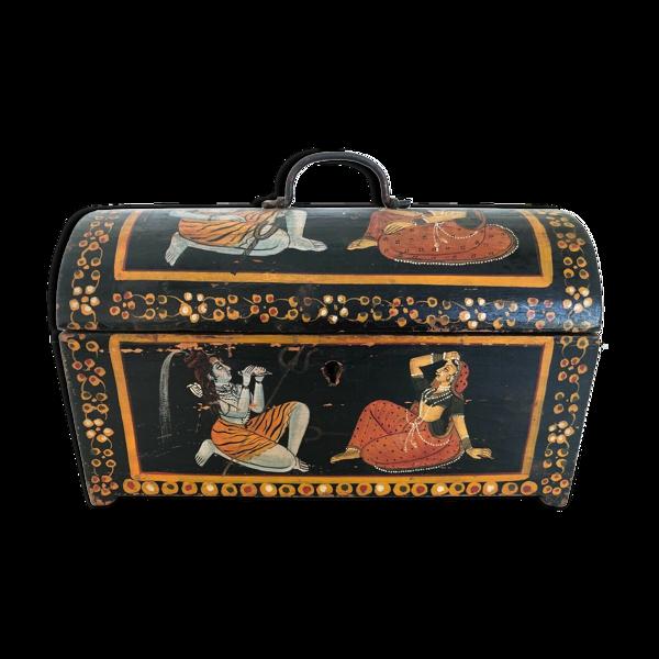 Boite indienne perse en bois peinte main fin 19 eme boite bijoux ethnique