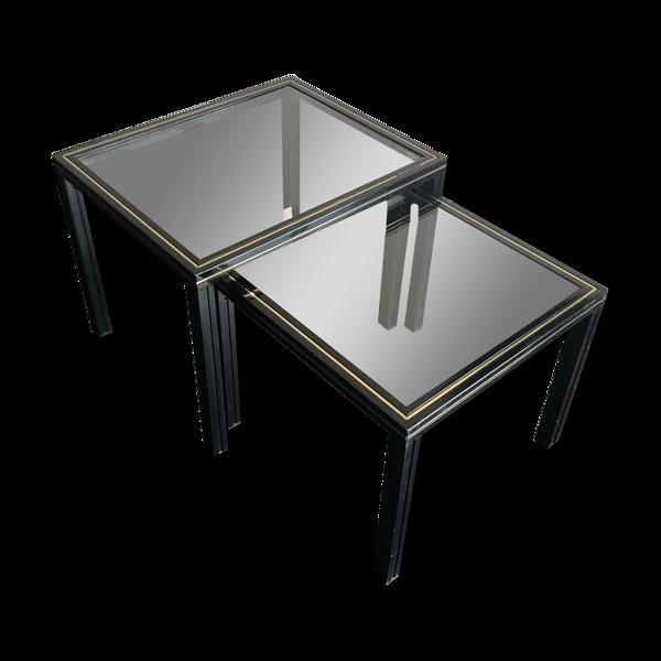 Paire de tables gigogne Pierre Vandel vintage 1970 - 50 x 41 cm