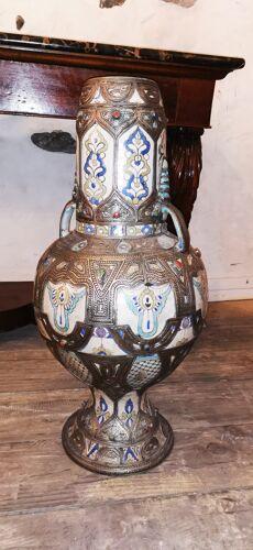 Vase potiche  en ceramique et argent orientaliste Maroc