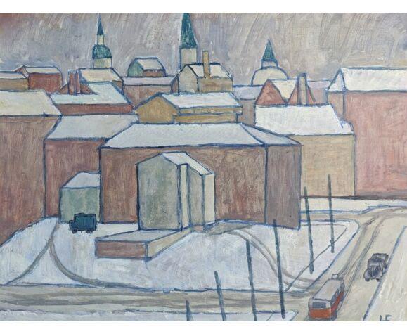 Peinture à l'huile encadrée vintage du milieu du siècle - Winter Town