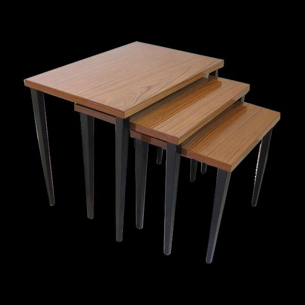 Ensemble de 3 tables table d'appoint 1950 / 60s