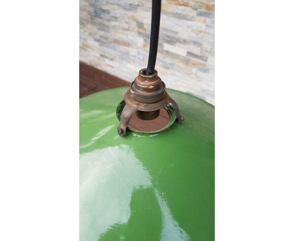 Lampe suspension en tôle émaillée verte gamelle vintage