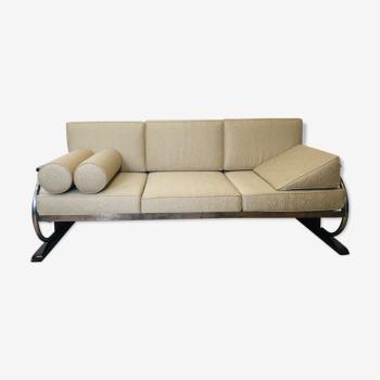 Canapé beige en acier tubulaire Bauhaus pour Robert Slezak, années 1930