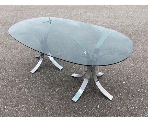 Table à manger des années 70 chrome et verre fumé