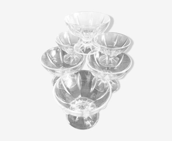 Lot de 6 coupes à glace en verre Luminarc modèle Seychelles années 1990