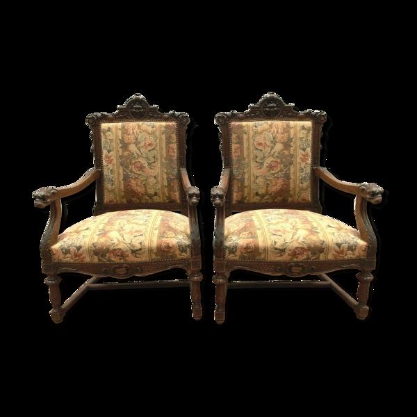Paire de fauteuils de style renaissance en chêne XlXsiècle