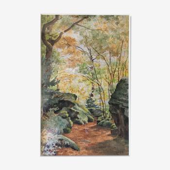 """Tableau aquarelle du début du XX° """"Forêt du Morvan"""""""