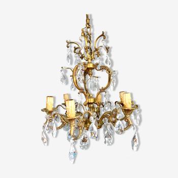 Lustre suspension en bronze et pampilles en cristal vintage