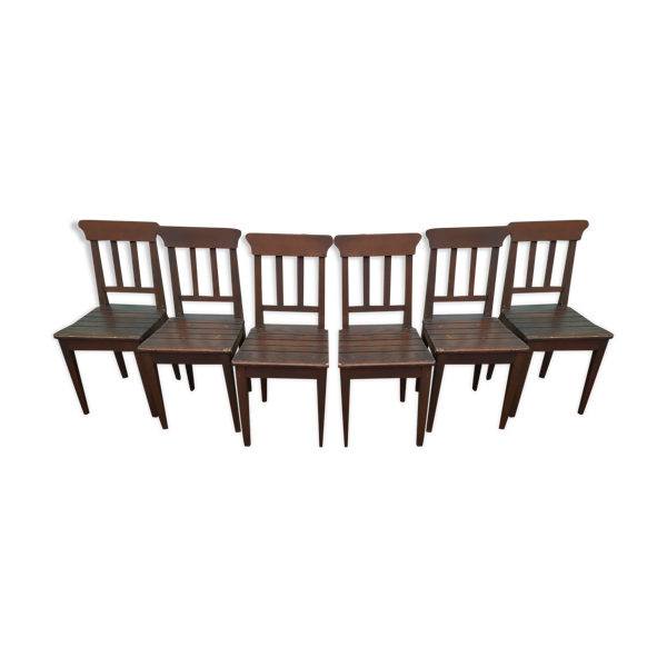 Lot de 6 chaises en bois bistrot