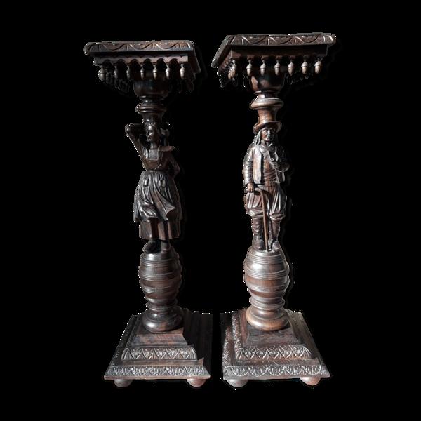 Selency Paire de sellettes bretonnes anciennes en chêne