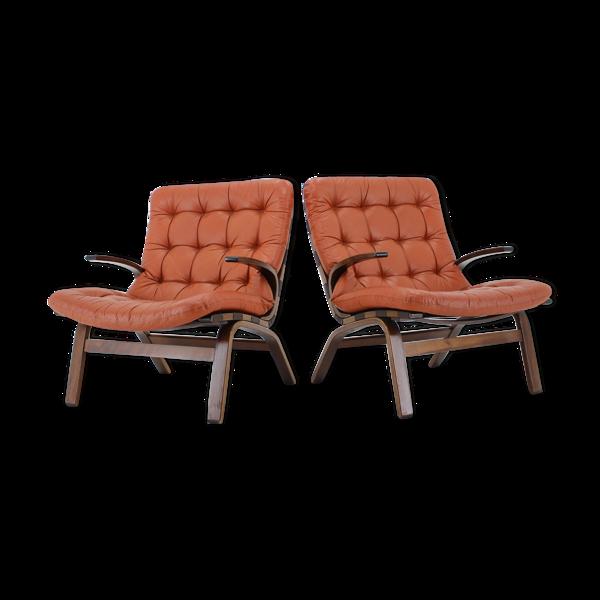 Paire de fauteuil danois en cuir rouge 1970