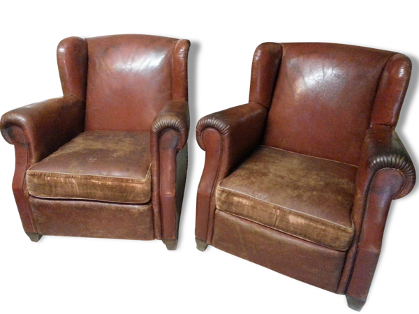 Paire de fauteuils club avec oreilles, en cuir d'origine