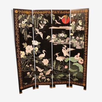 Paravent à 4 feuilles décor laqué Extrême-Orient Japon type Coromandel