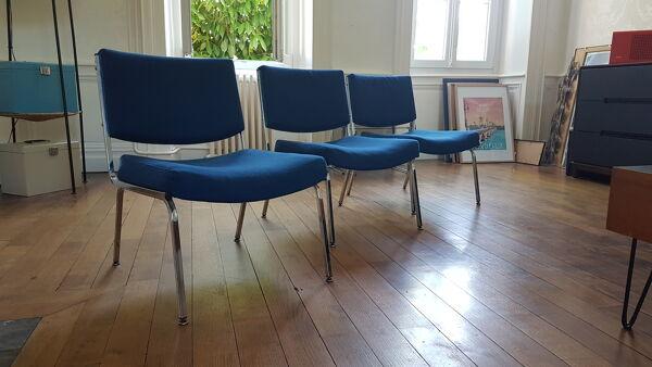Set de 3 fauteuils chauffeuses années 1970