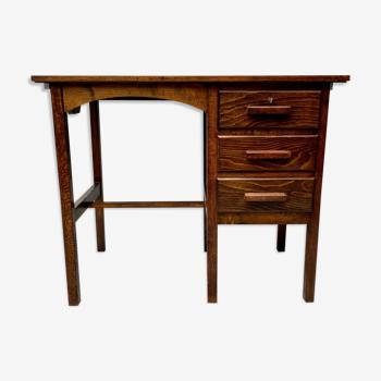 Bureau en bois vintage avec tiroirs