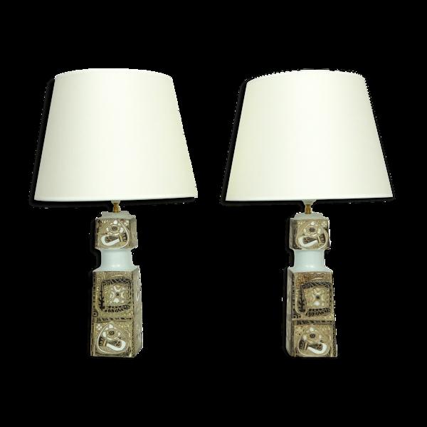 Paire de lampes danoises en céramique, design Nils Thorsson pour Fog&Morup, Royal Copenhagen