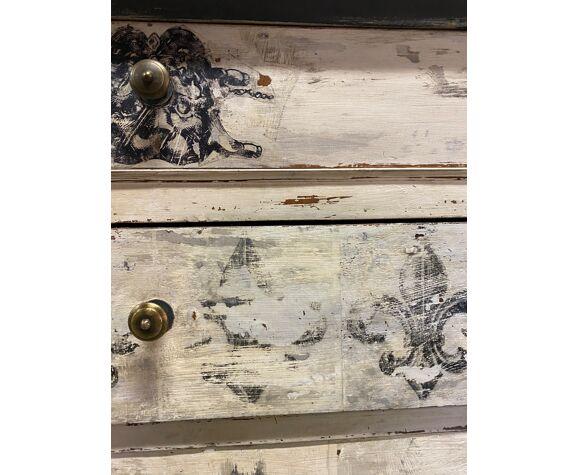 Commode bois peint 19esiecle