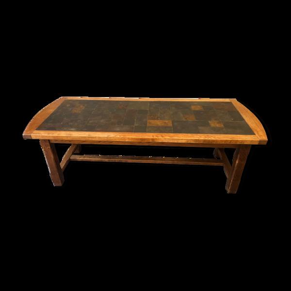Table en chêne massif et ardoise