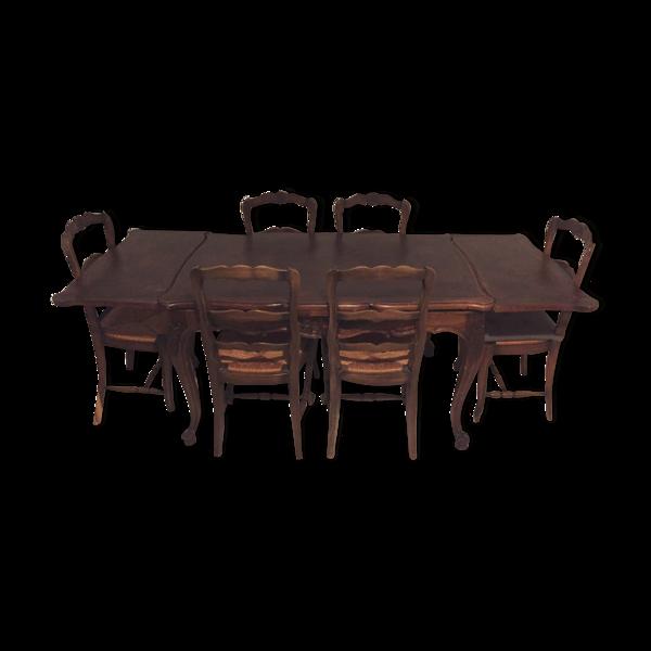 Table et chaises en bois massif