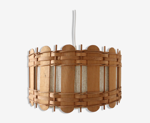 Hanging lamp in fabrics and wood, scandinavian style