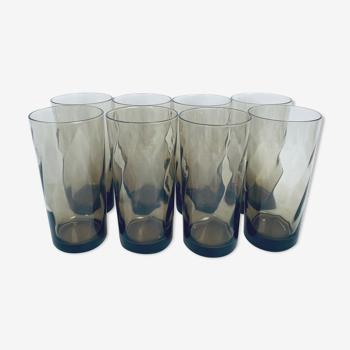 Lot de 8 verres Luminarc en verre fumé