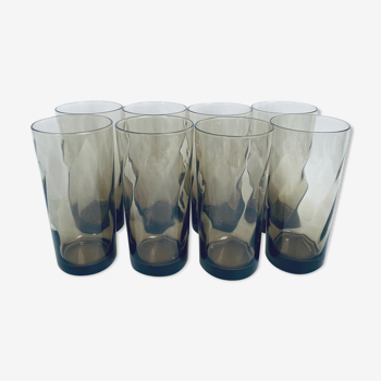 Lot of 8 Luminarc glasses in smoked glass