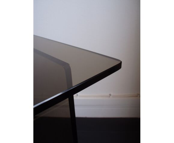 Table basse en verre fumé des années 70