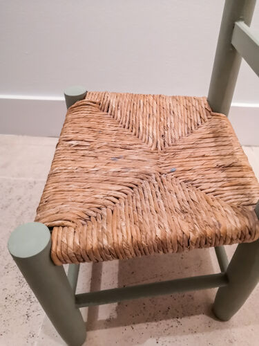 Wooden and straw child chair