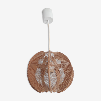 Scandinavian pendant lamp in wood and woven rope threads - 1960's