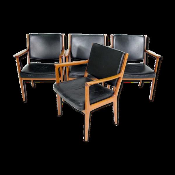 Set de fauteuils en teck et cuir Suède 1960