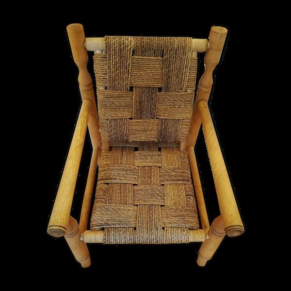 Fauteuil en bois et corde années 50 dans le goût Audoux Minet