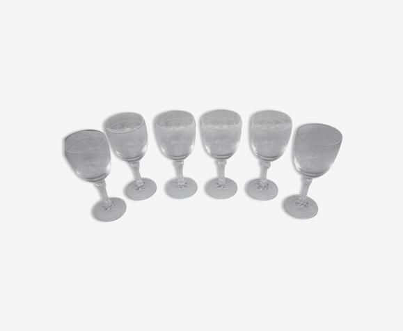 6 grands verres cristal taille gravé durand modele chevreuse